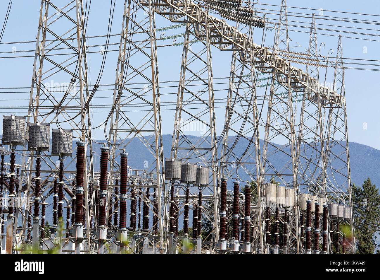 Power plant - high voltage cables, power factory - Stock Image