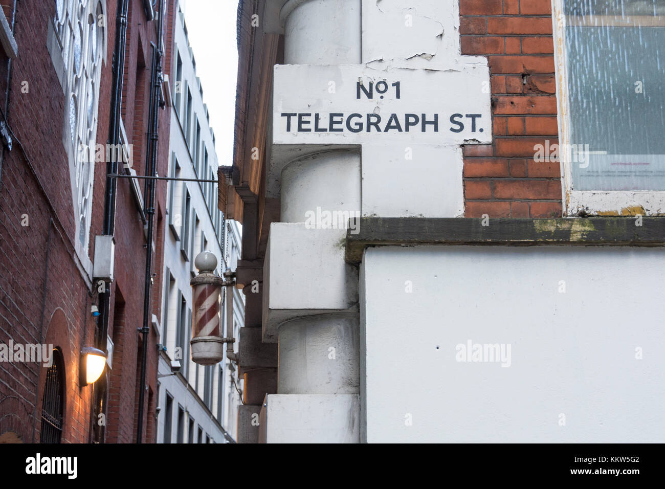 Hidden side streets in the Square Mile behind the Bank of England, UK - Stock Image