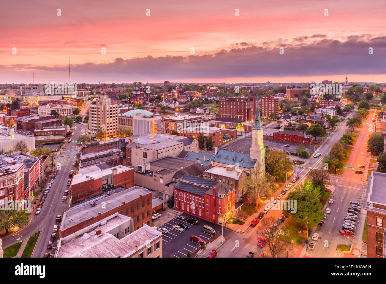 Macon, Georgia, USA downtown city skyline. - Stock Image