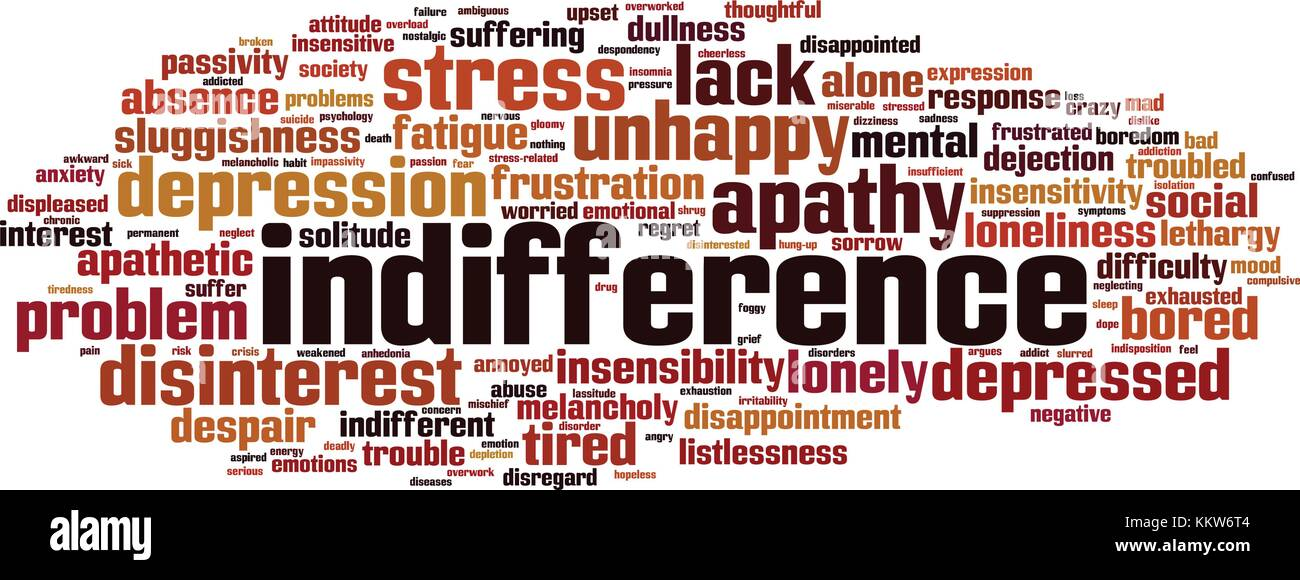 Indifference word cloud concept. Vector illustration - Stock Image