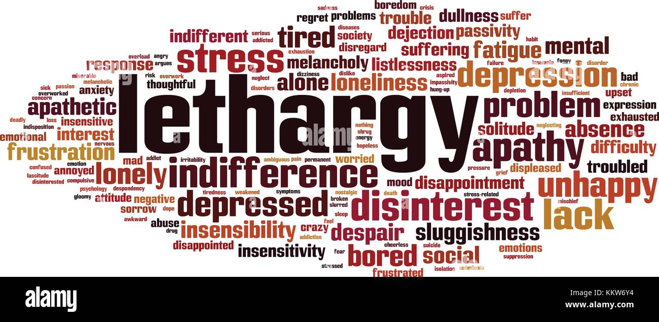 Lethargy word cloud concept. Vector illustration - Stock Image