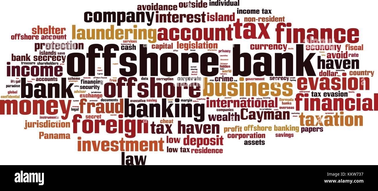 Offshore bank word cloud concept. Vector illustration - Stock Vector