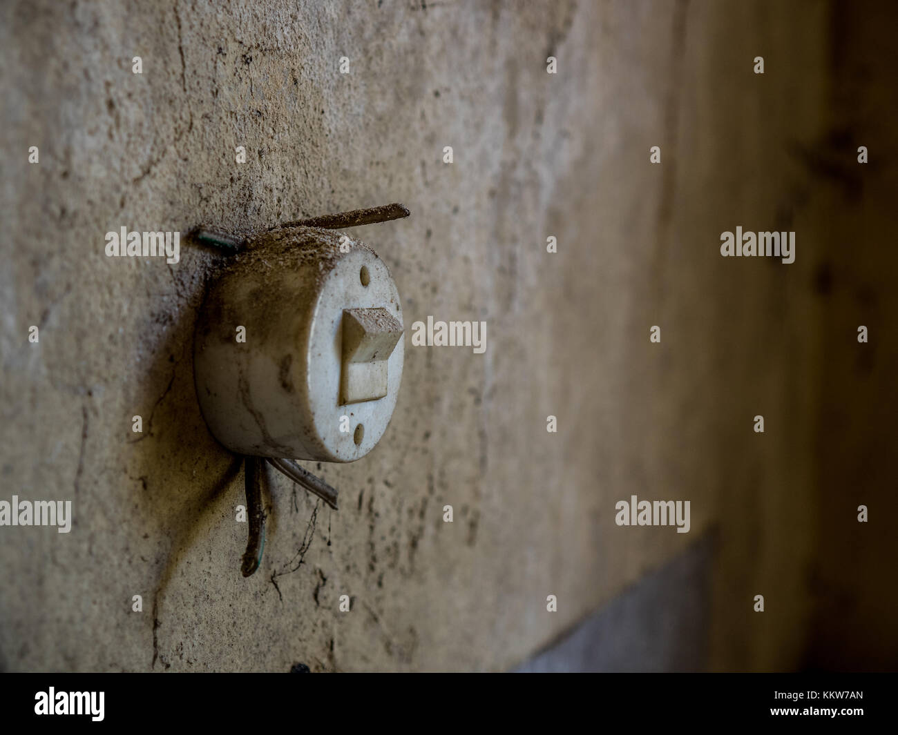 old lightswitch without cables - Stock Image