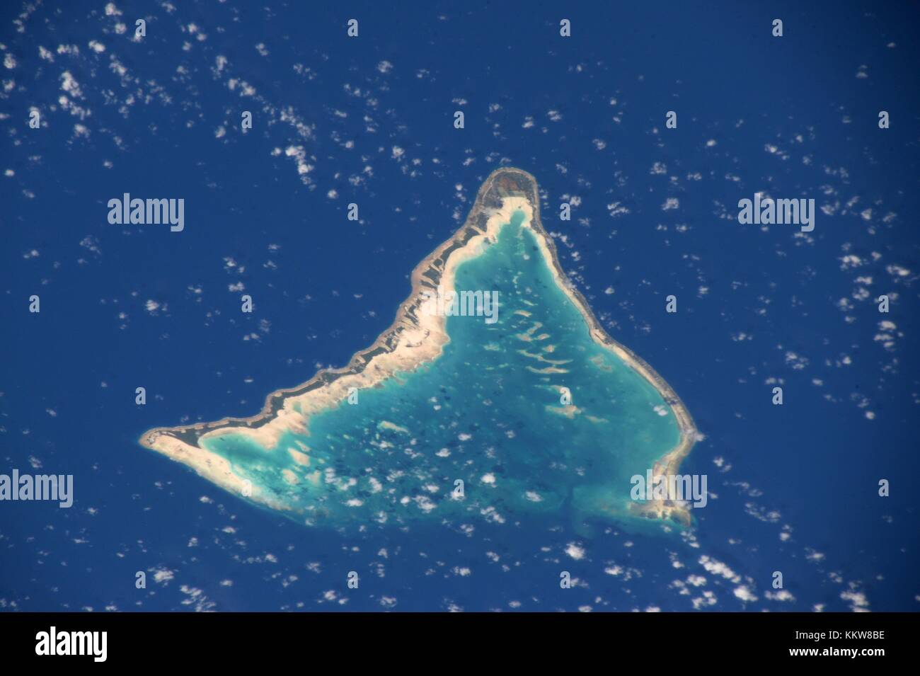 Daytime view of the central Pacific Island of Tarawa in the Republic of Kiribati from the International Space Station - Stock Image