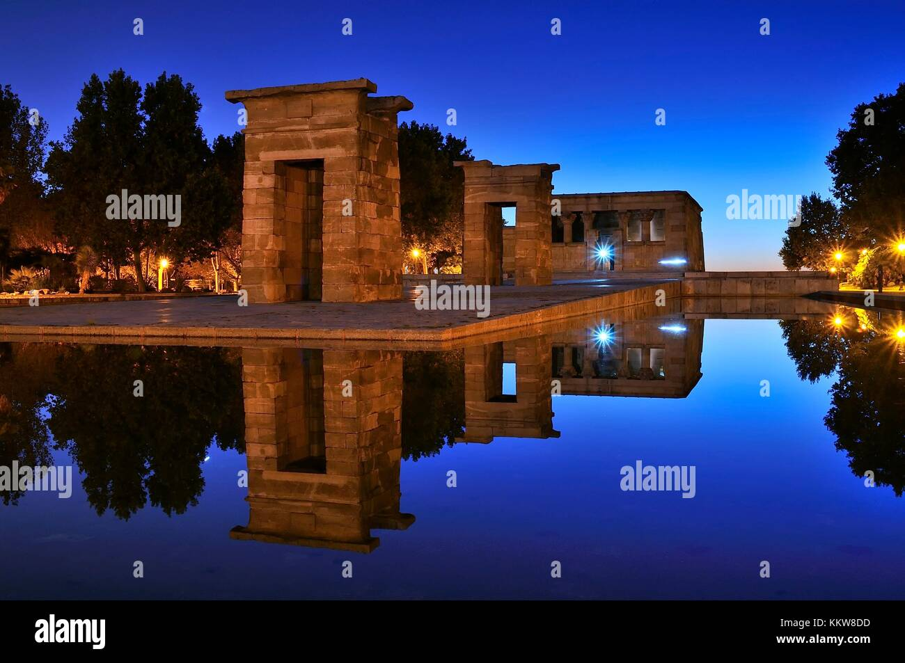Temple of Debod  in Madrid, donated by Egypt to Spain. - Stock Image