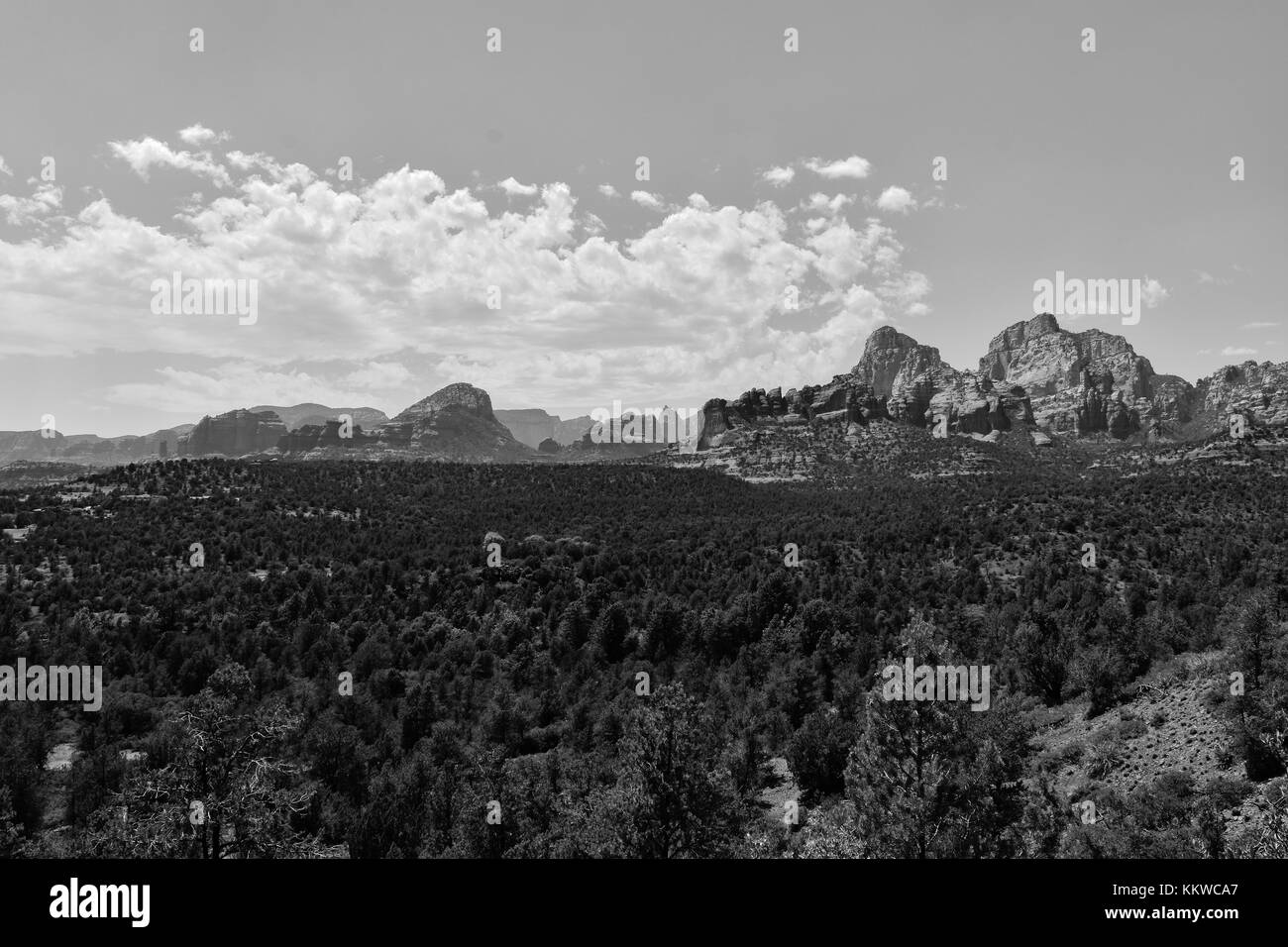 Sedona Arizona Red Rocks Landscape View Black and White - Stock Image