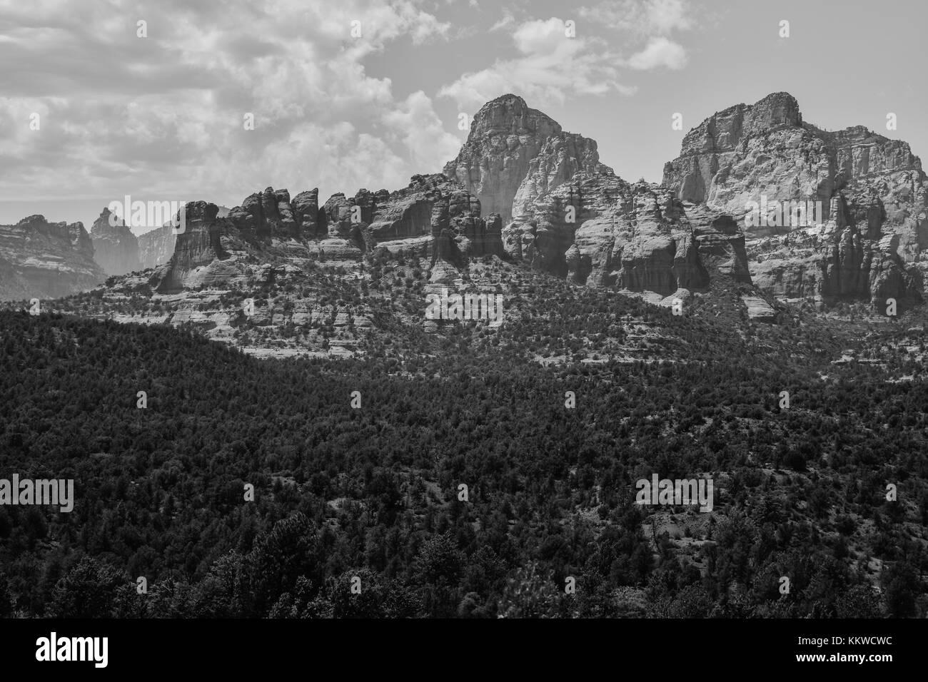 Sedona Arizona Red Rocks Landscape View Black and White - Stock Image