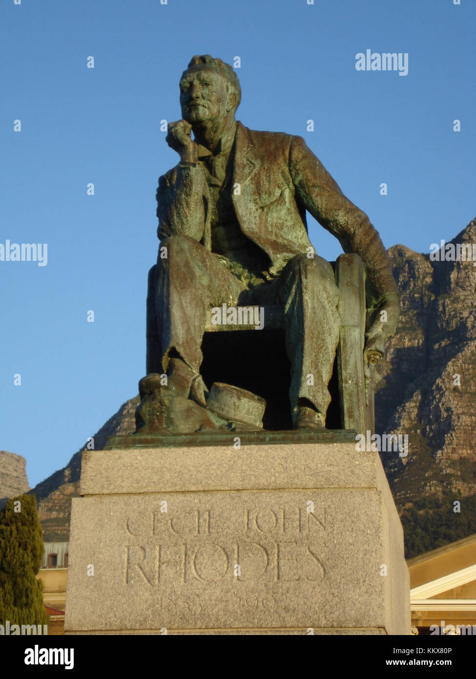 Statue of Cecil John Rhodes at UCT (5829551829) - Stock Image
