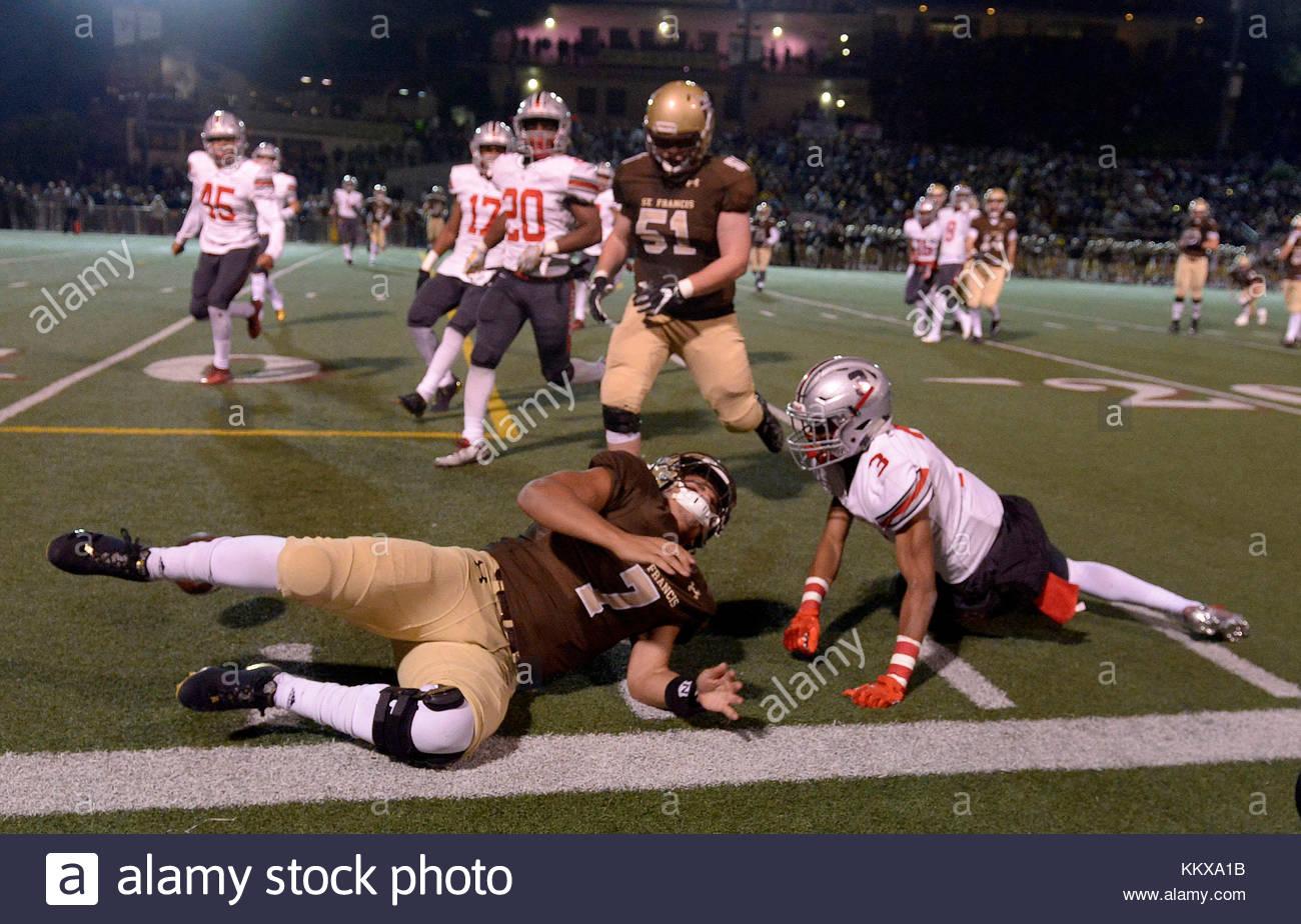 La Canada, California, USA. 1st Dec, 2017. St. Francis quarterback Darius Perrantes (7) scrambles against Rancho - Stock Image