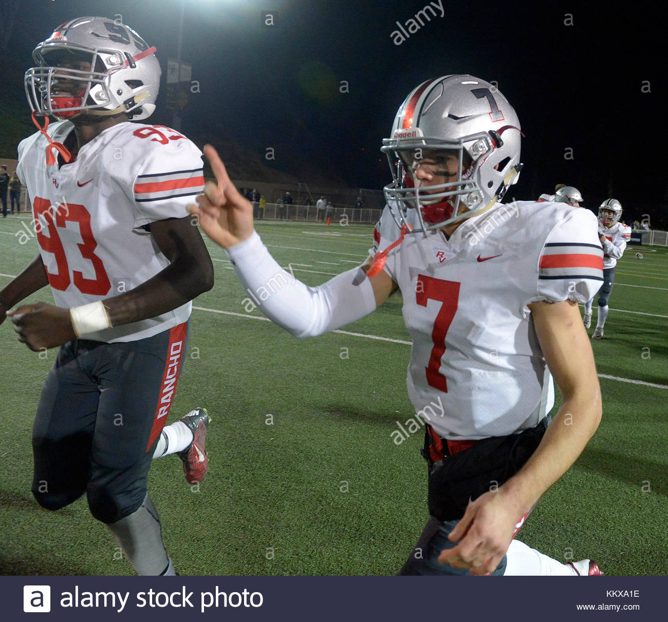 La Canada, California, USA. 1st Dec, 2017. Rancho Verde quarterback Brock White (7) holds hold is finger as they - Stock Image