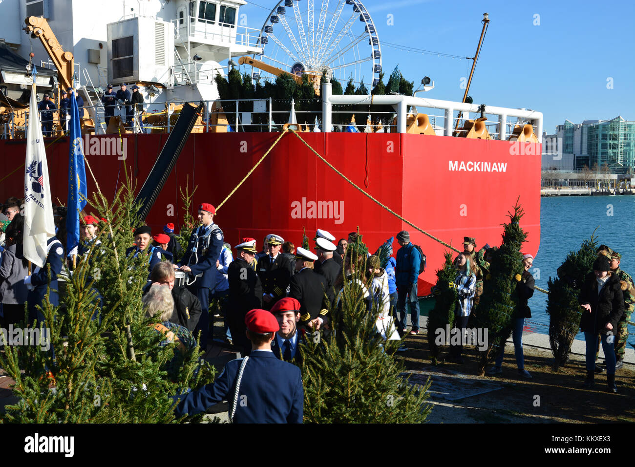 Chicago, USA. 2nd Dec, 2017. The US Coast Guard and youth volunteers unload 1,200 Christmas trees from the Coast Stock Photo