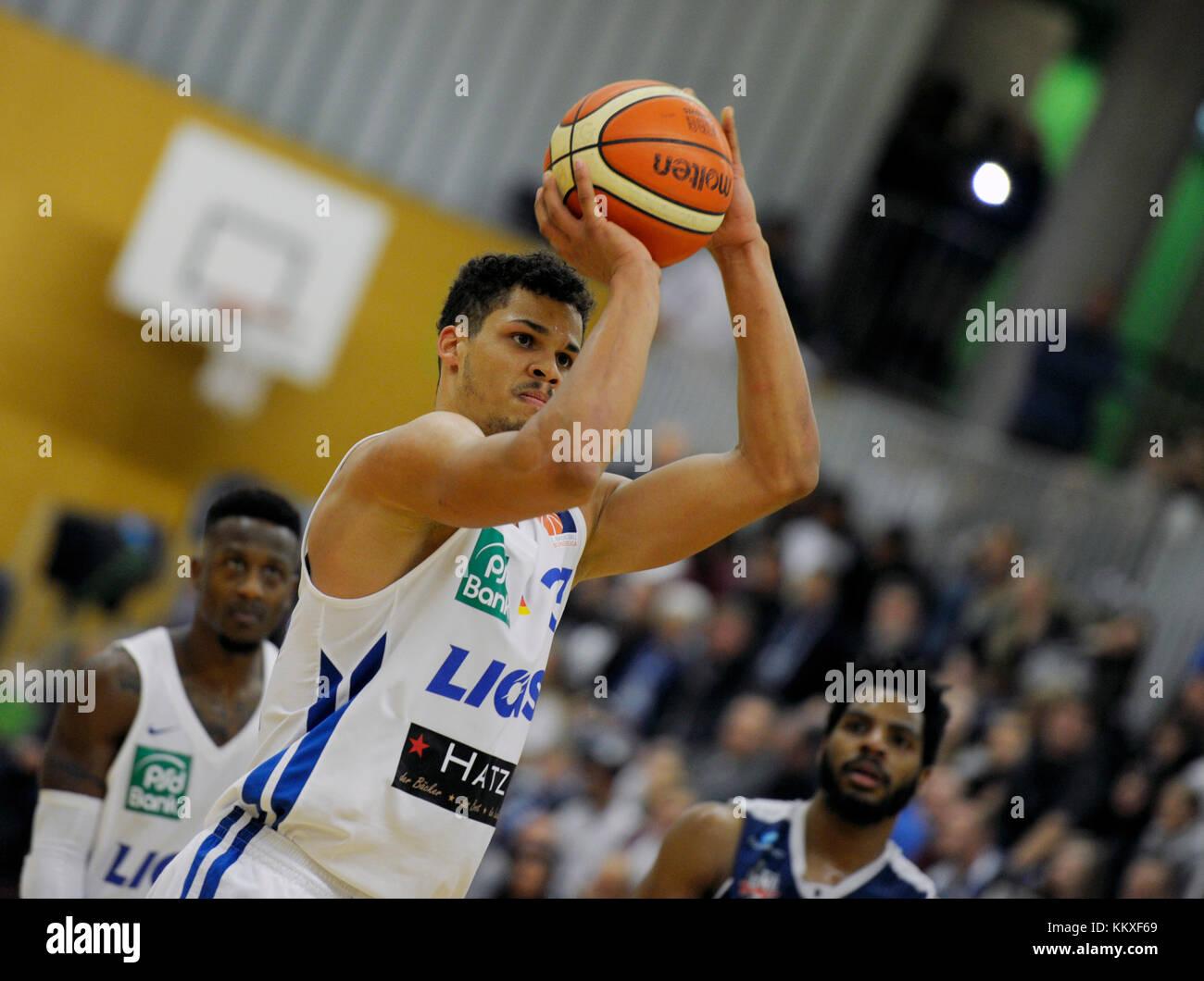 Jarelle Reischel (PSK)  am Ball,  GES/ Basketball/ ProA: PSK Lions - Baskets Paderborn 02.12.2017 --  usage worldwide - Stock Image