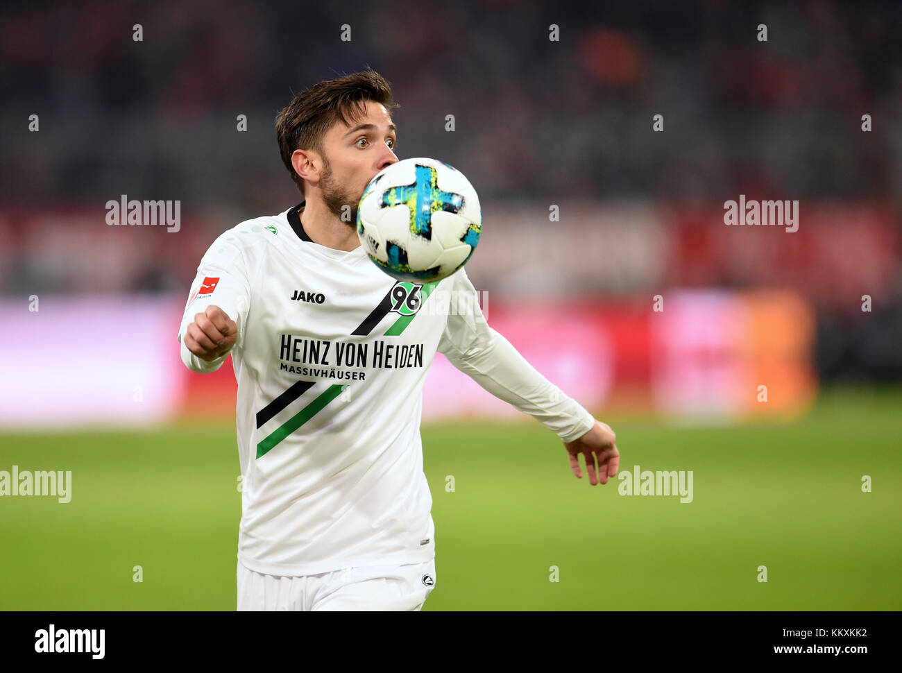 Munich, Germany. 2nd Dec, 2017. Hanover's Julian Korb taking possession of the ball during the German Bundesliga - Stock Image