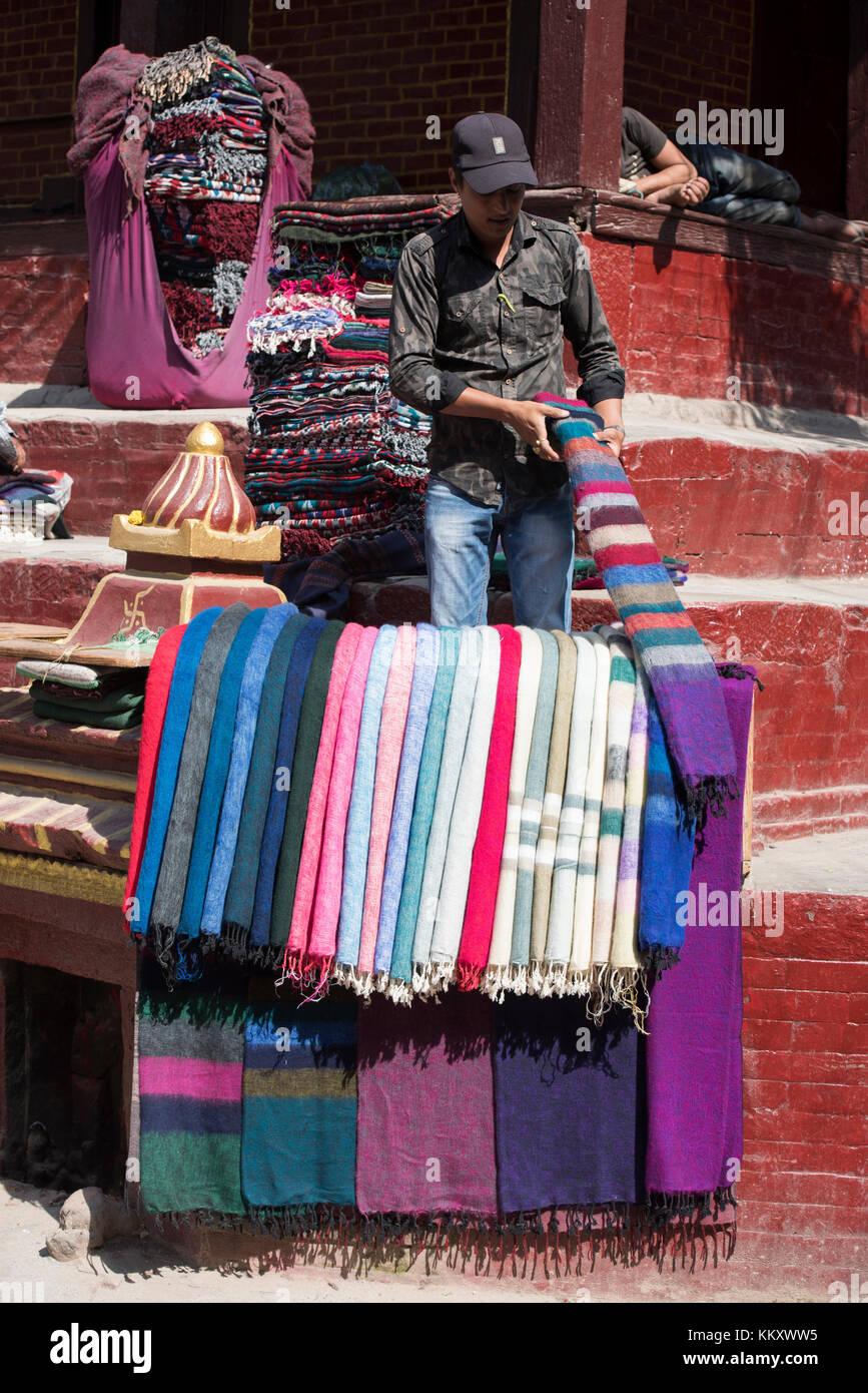 Shawl vendor, Kathmandu, Nepal - Stock Image