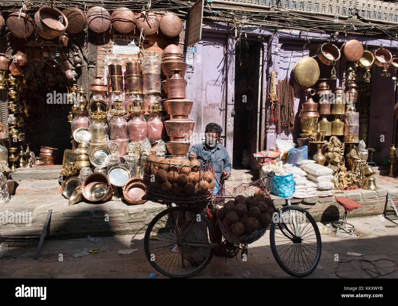 Brass pots and pans street, Kathmandu, Nepal - Stock Image