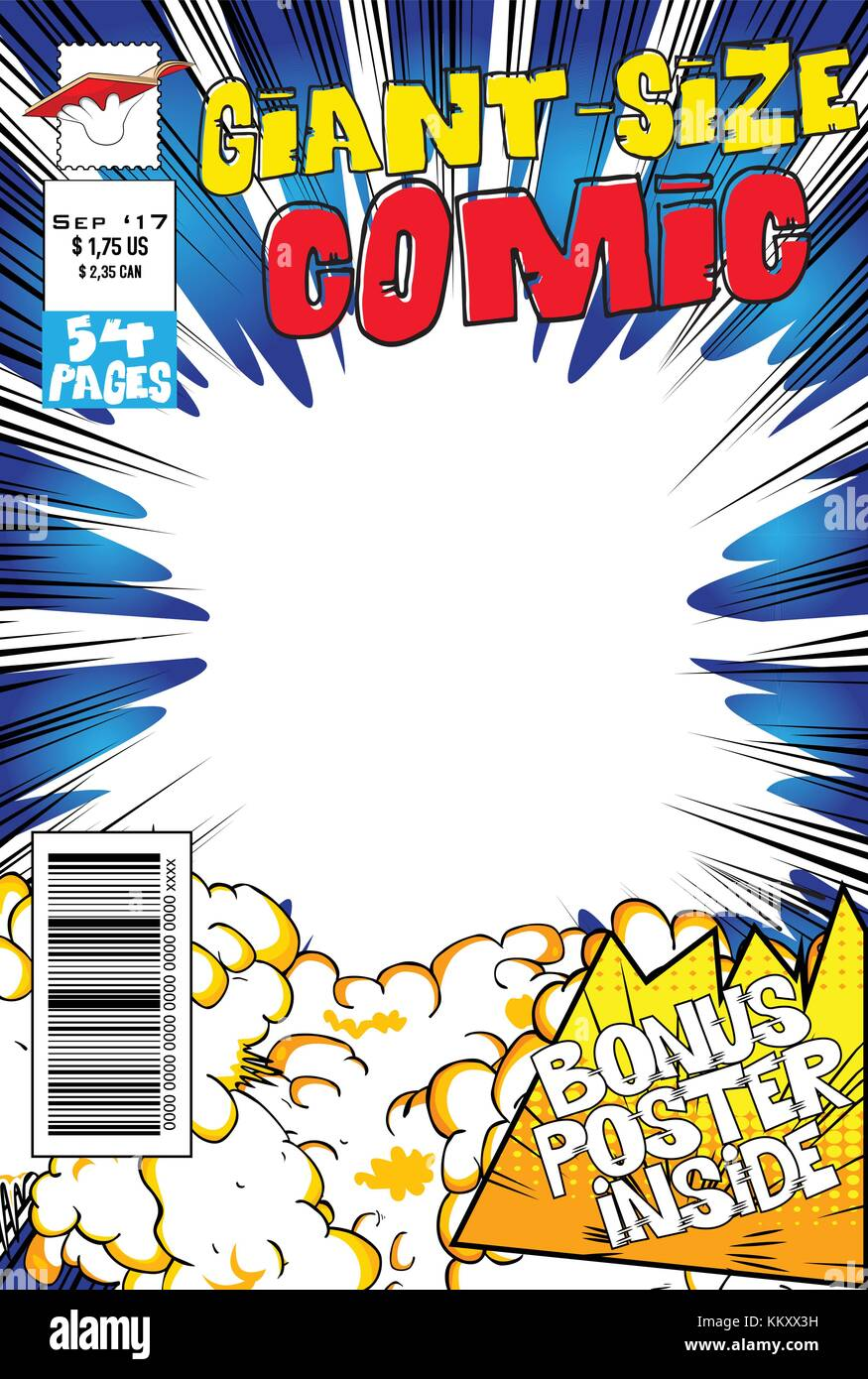 Editable Comic Book Cover With Blank Explosion Background