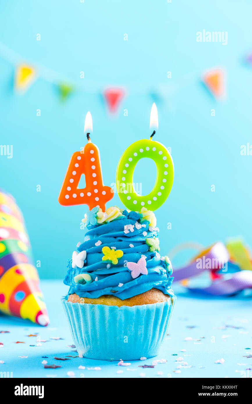 Fortieth 40th Birthday Cupcake With Candle And Sprinkles Card Mockup