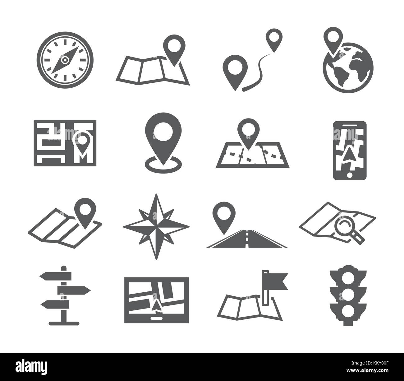 Navigation and Map icons Stock Vector