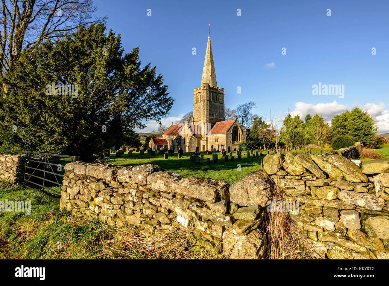 The lovely parish church of St.Peter's in the South Lakeland rural community of Field Broughton in the Lake - Stock Image