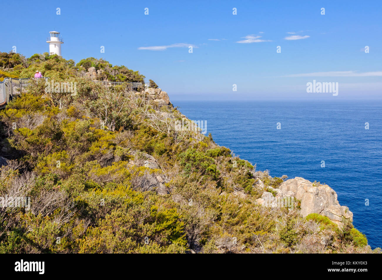 An unmanned, automatic lighthouse in the Freycinet National Park - Cape Tourville, Tasmania, Australia Stock Photo