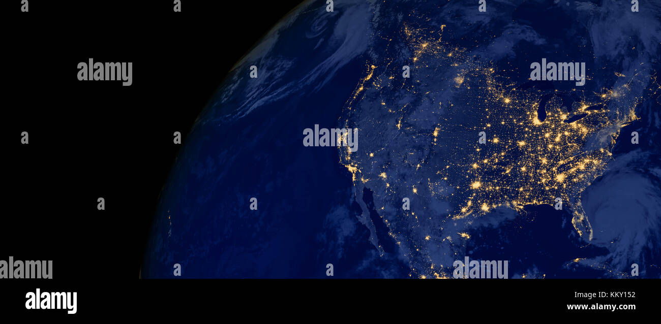 United States of America lights during night as it looks like from space. Elements of this image are furnished by - Stock Image