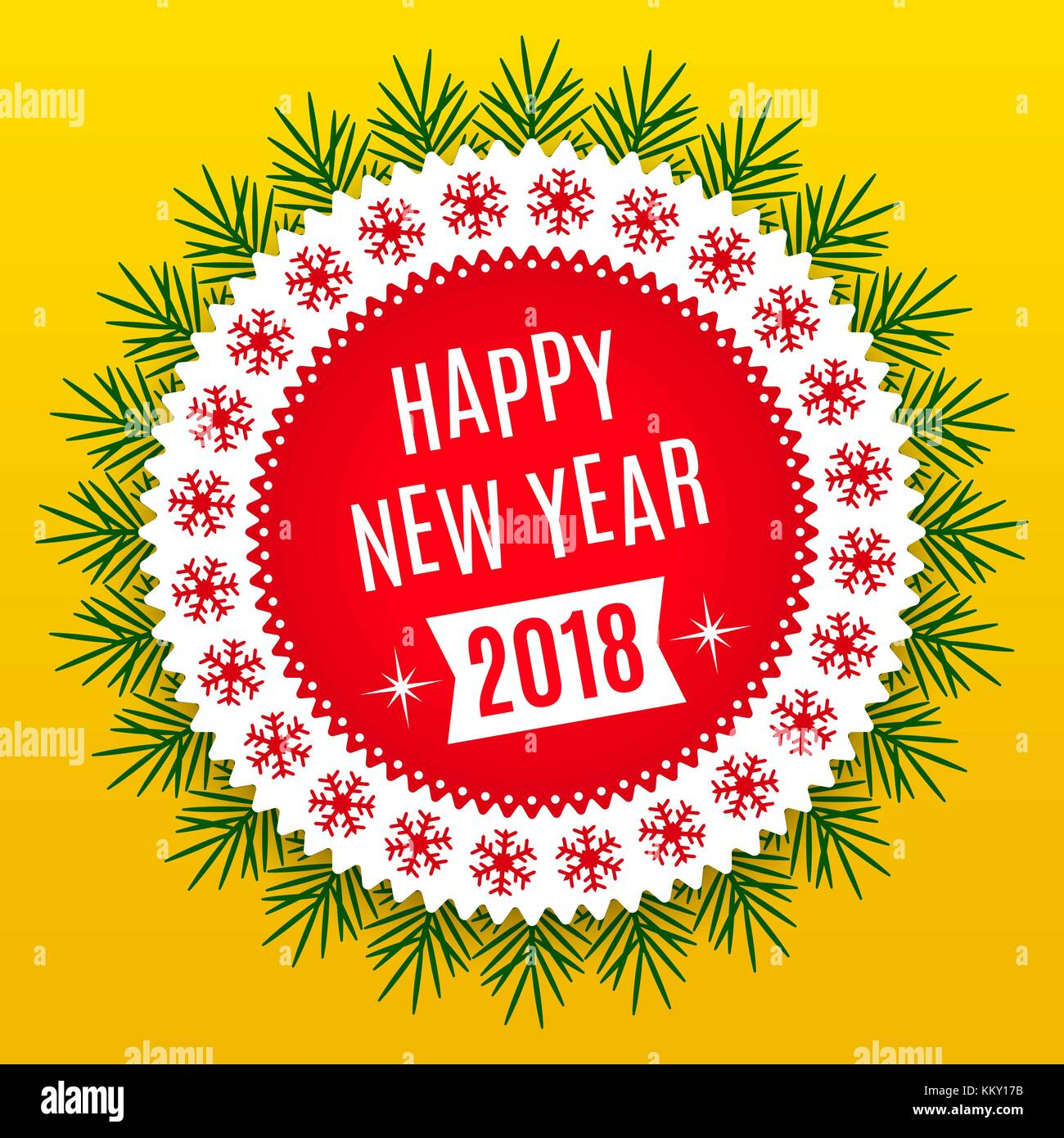 new year 2018 holiday round banner of happy new year 2018 in red white and yellow color vintage greeting badge with spruce branches