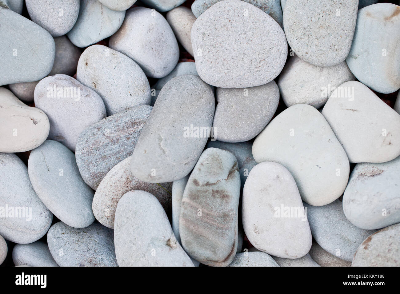 White and grey pebble stones - Stock Image