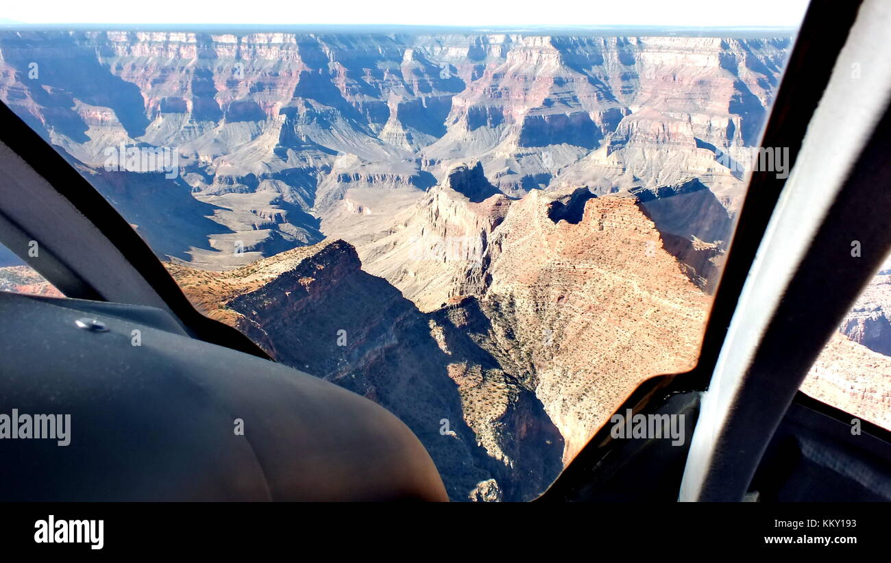 The Grand Canyon as seen from a helicopter, Arizona. - Stock Image