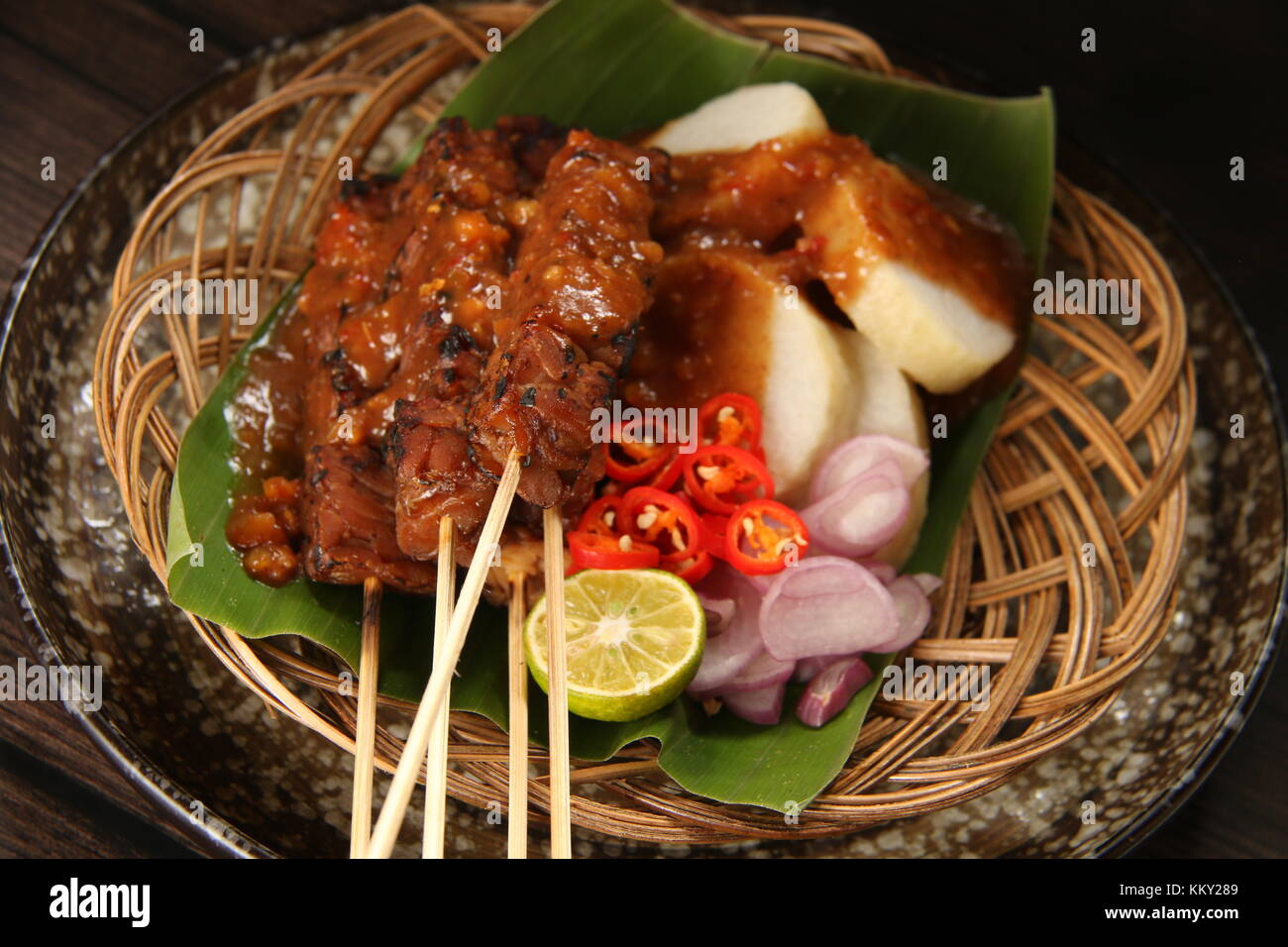 Sate Kere, the Popular Tempeh Satay from Solo / Surakarta, Central Java - Stock Image