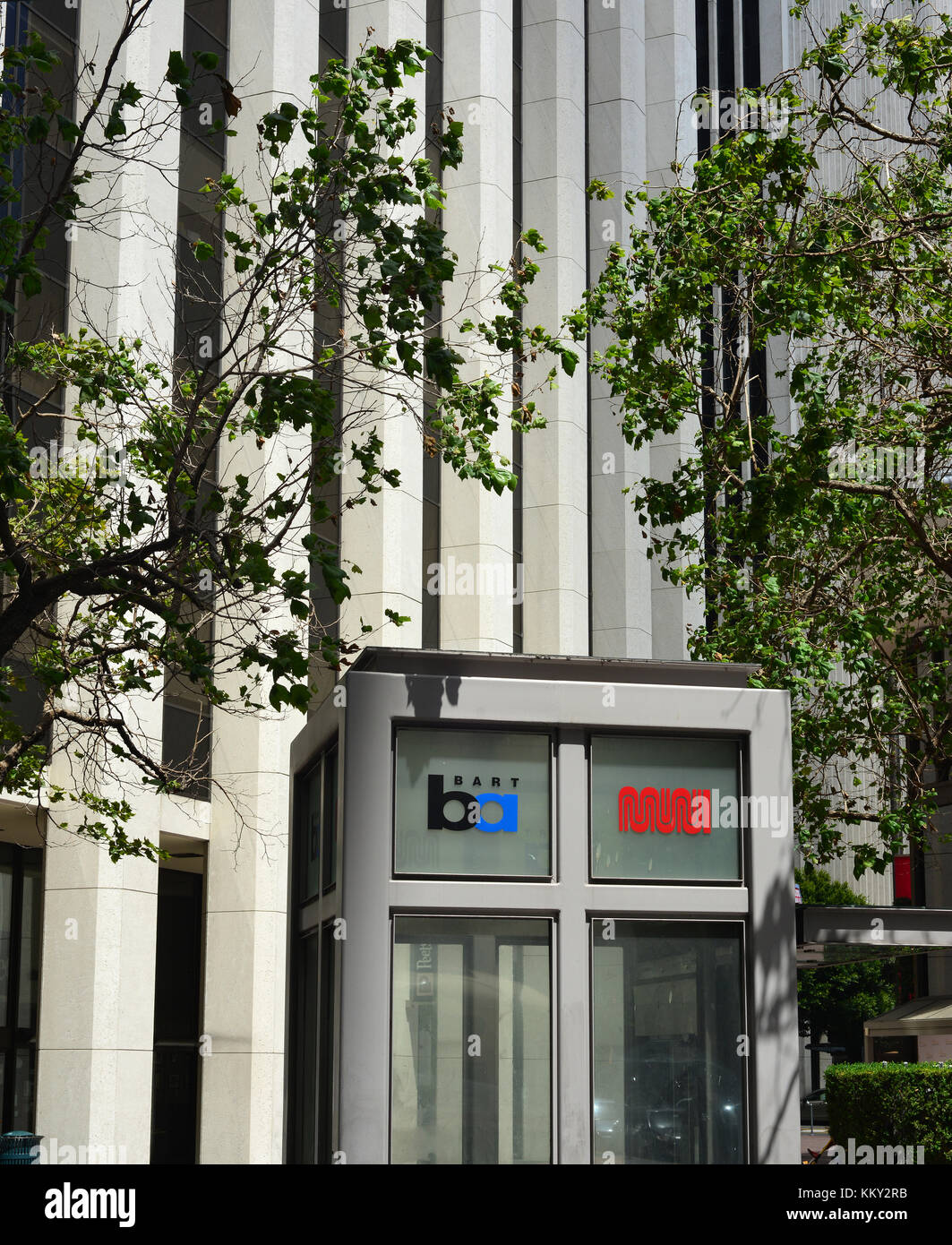 Elevator from street level to Bart/MUNI Services in Market Street San Francisco - Stock Image