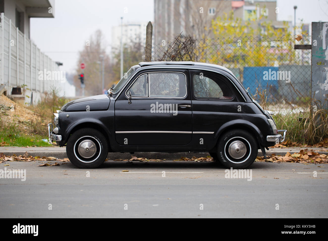 3328db794 Old black Fiat 500 on the street of New Belgrade, Belgrade, Serbia - Stock