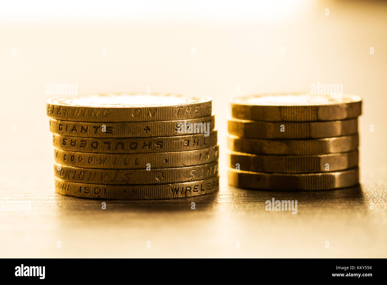 coins, pille of british coins, pound, sparky coins Stock Photo