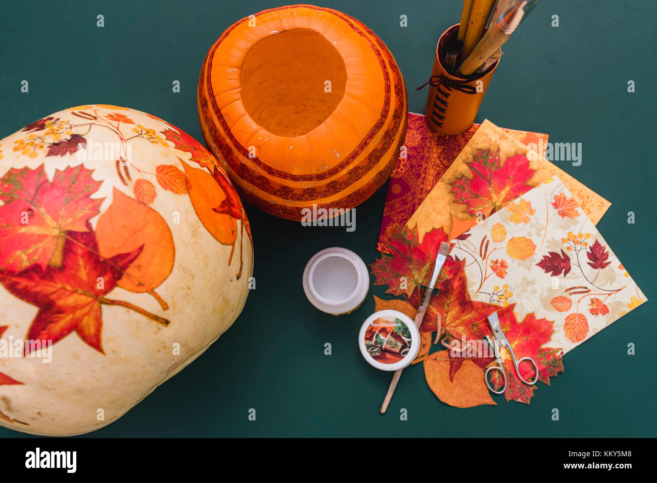 Still Life Diy Autumnal Decoration Pumpkin Napkin Decoupage Stock Photo Alamy