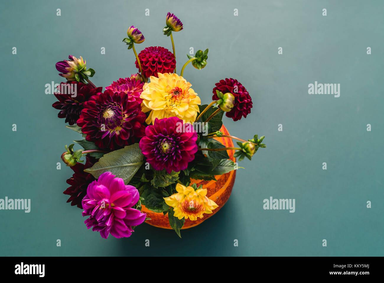 Pumpkin, hollow, flowers, still life - Stock Image
