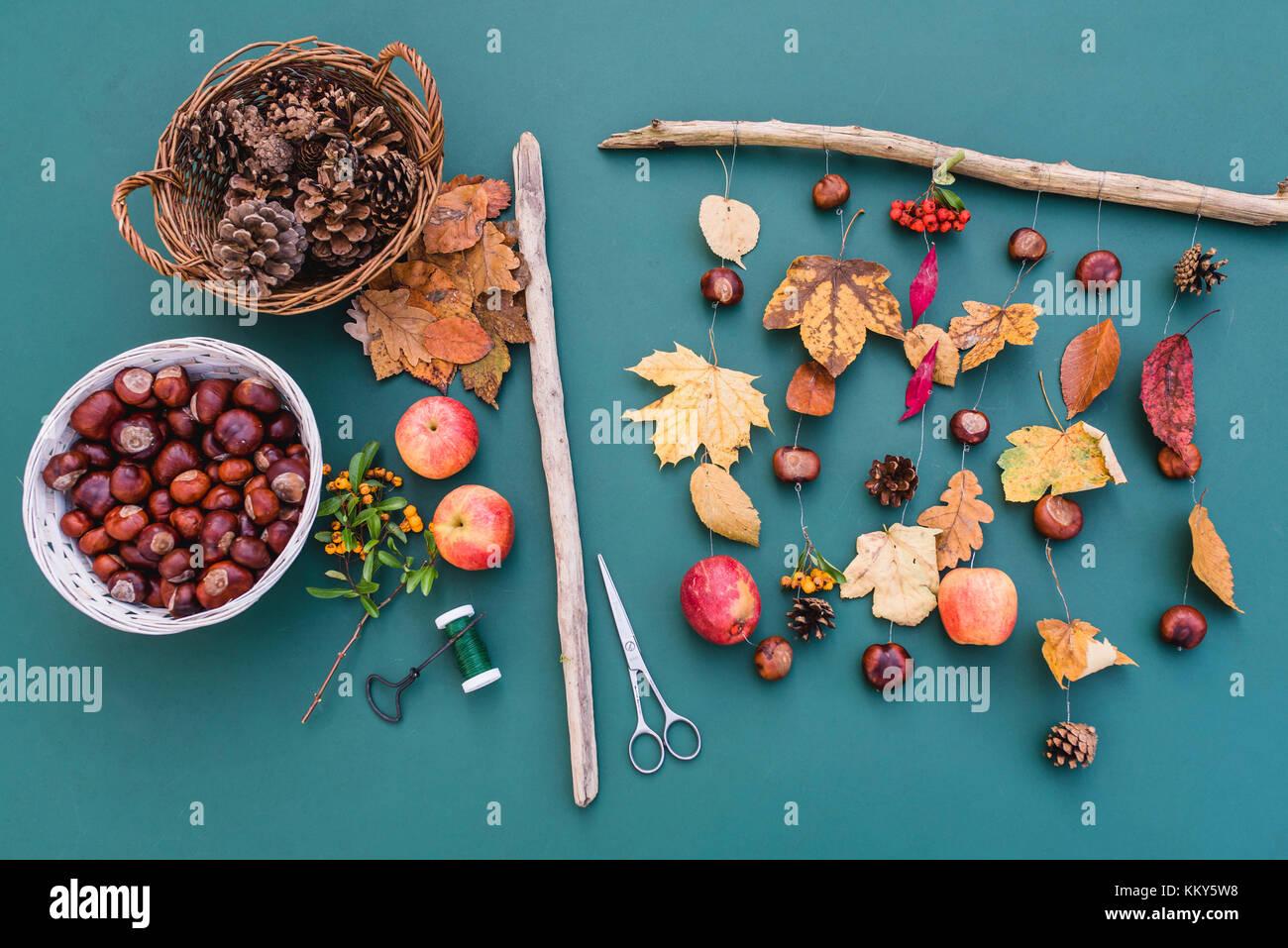 DIY, autumnal decoration, mobile, natural materials, crafting, Stock Photo