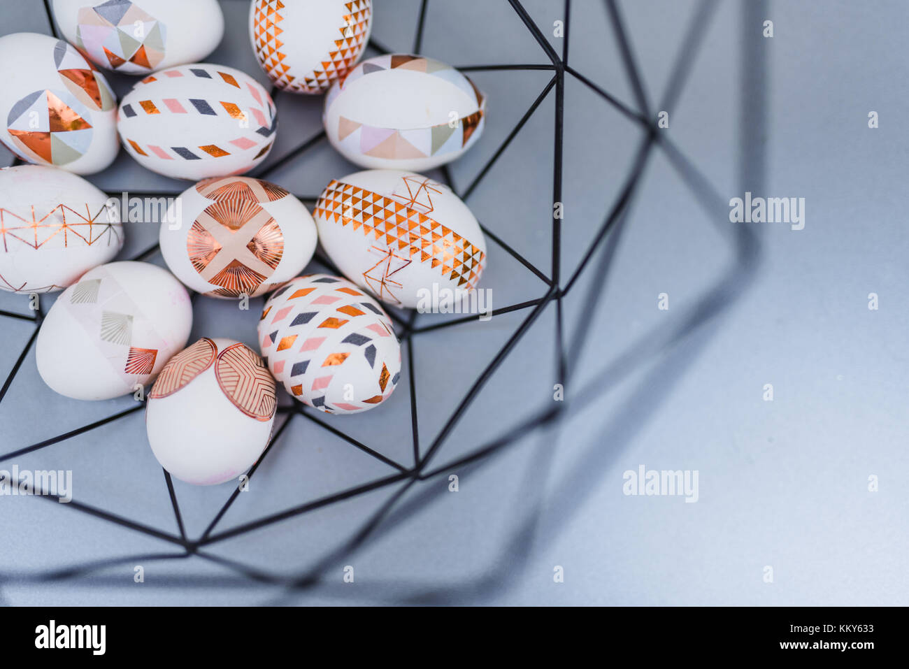 Easter eggs, ornaments, geometrical, copper, detail - Stock Image