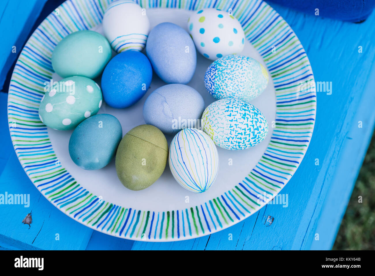 Garden, plate, Easter eggs, coloured, painted, - Stock Image