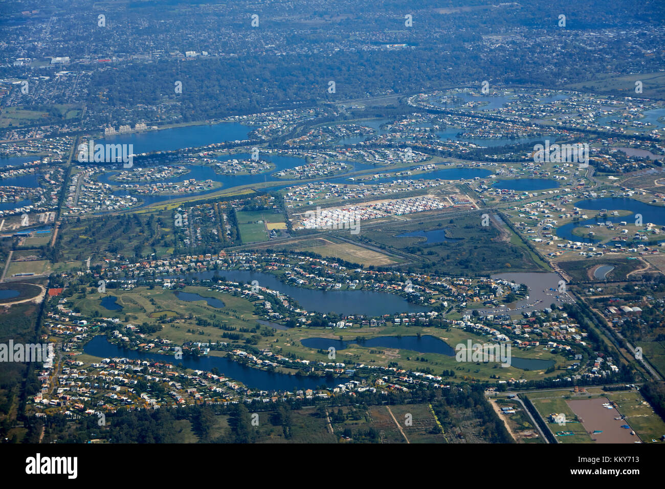 Waterways and houses, Dique Lujan, northern Buenos Aires, Argentina, South America - aerial - Stock Image