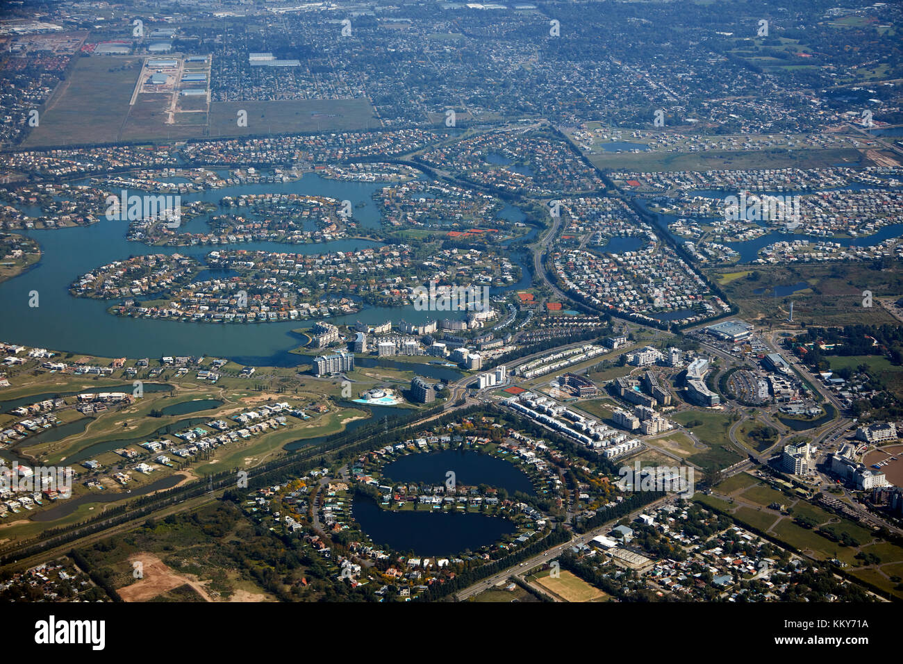 Waterways and houses, Nordelta, northern Buenos Aires, Argentina, South America - aerial - Stock Image