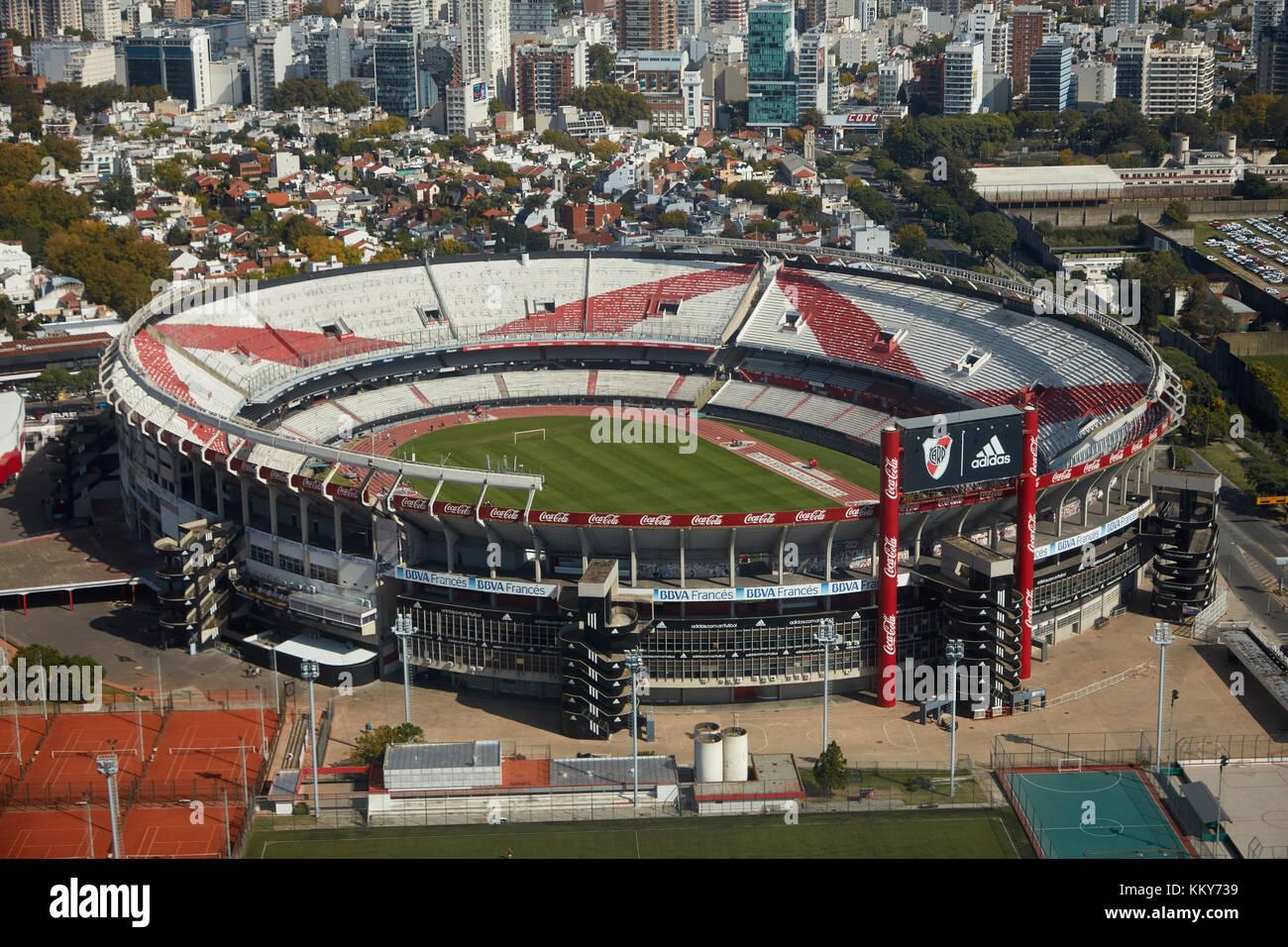 Estadio Antonio Vespucio Liberti (River Plate Stadium), Buenos Aires, Argentina, South America - aerial Stock Photo