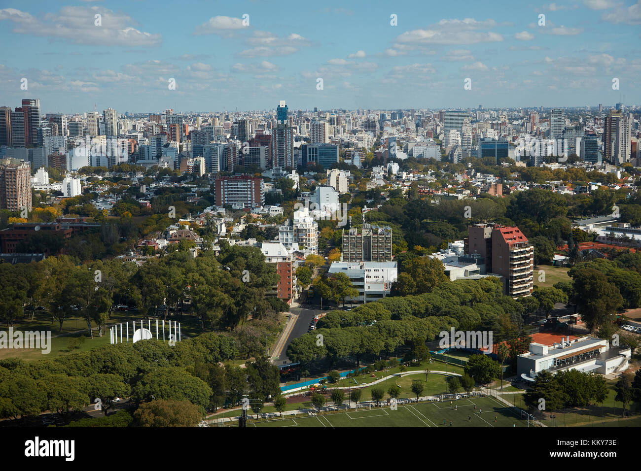 Parks and apartments, Belgrano, Buenos Aires, Argentina, South America - aerial - Stock Image