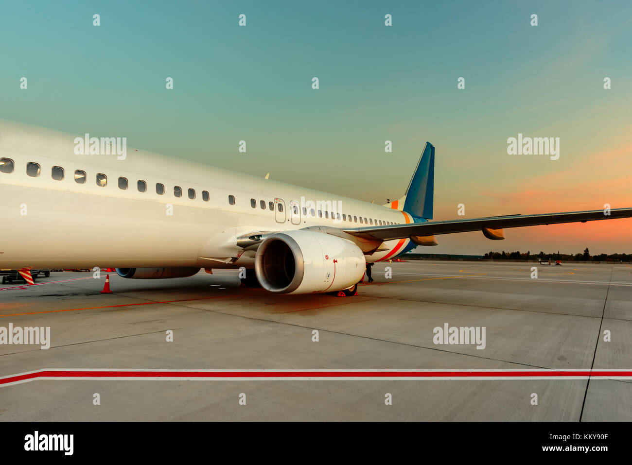 To the passengers' services is a modern airport building, quality and qualified service and preparation of aircraft - Stock Image