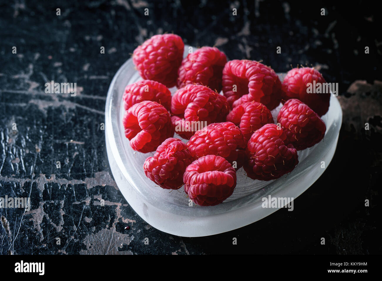 St Valentines Greeting Card With Fresh Raspberry In Heart Shaped