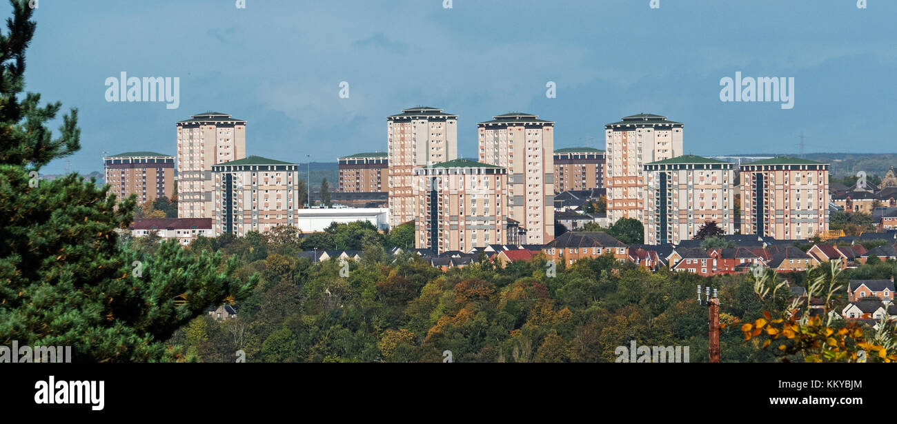 Residential Tower blocks in Motherwell, Lanarkshire, Scotland Stock Photo