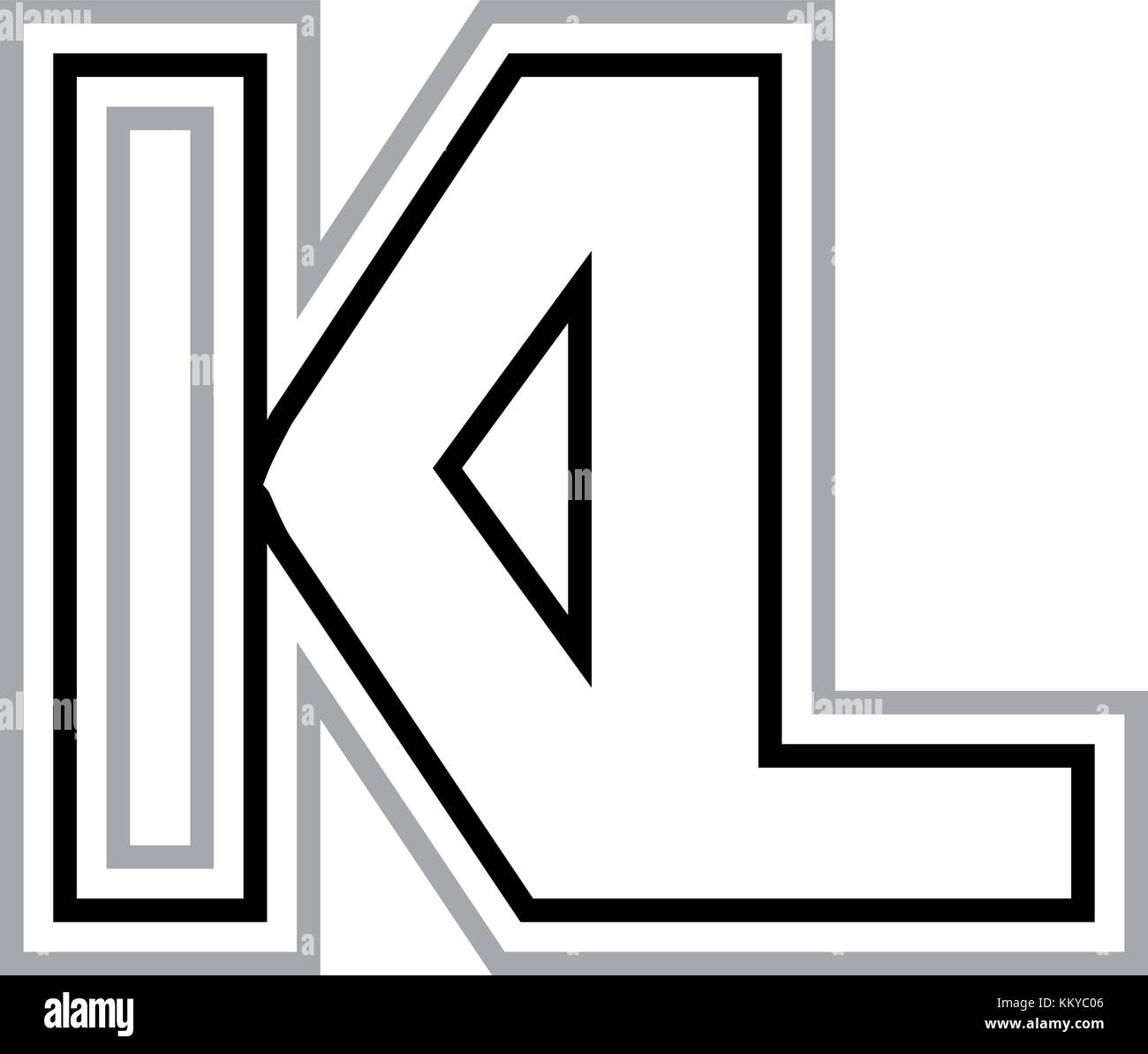 KL Logo in black and gray. Ideal for legal firms. - Stock Vector