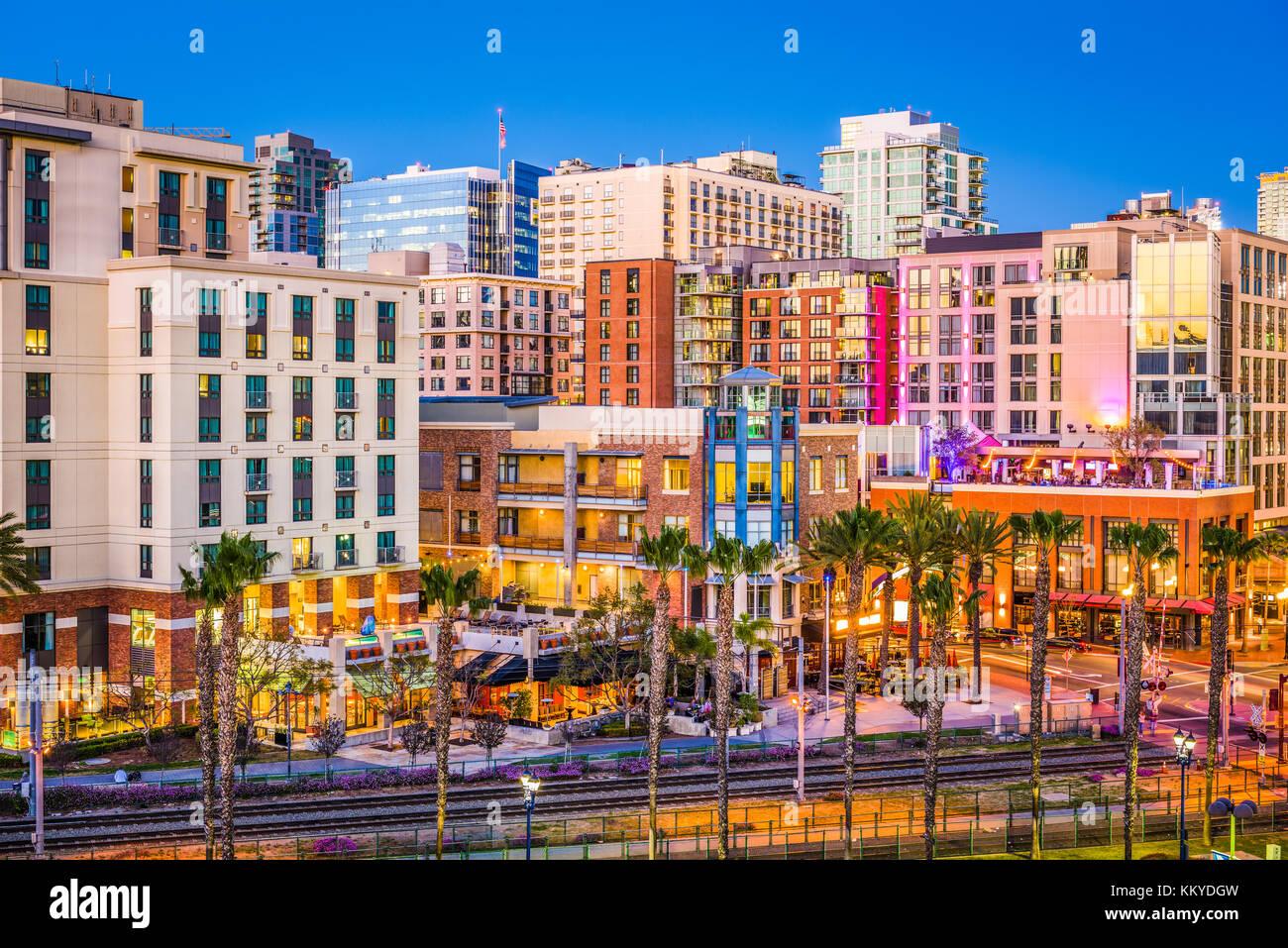 San Diego, California, USA cityscape at the Gaslamp Quarter. - Stock Image