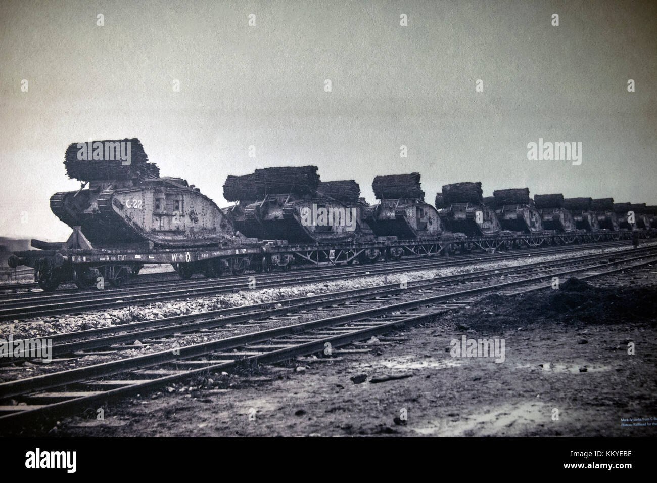The British Mark lV tank fitted with fascines, arriving at the Plateau Railhead in northern France in preparation - Stock Image