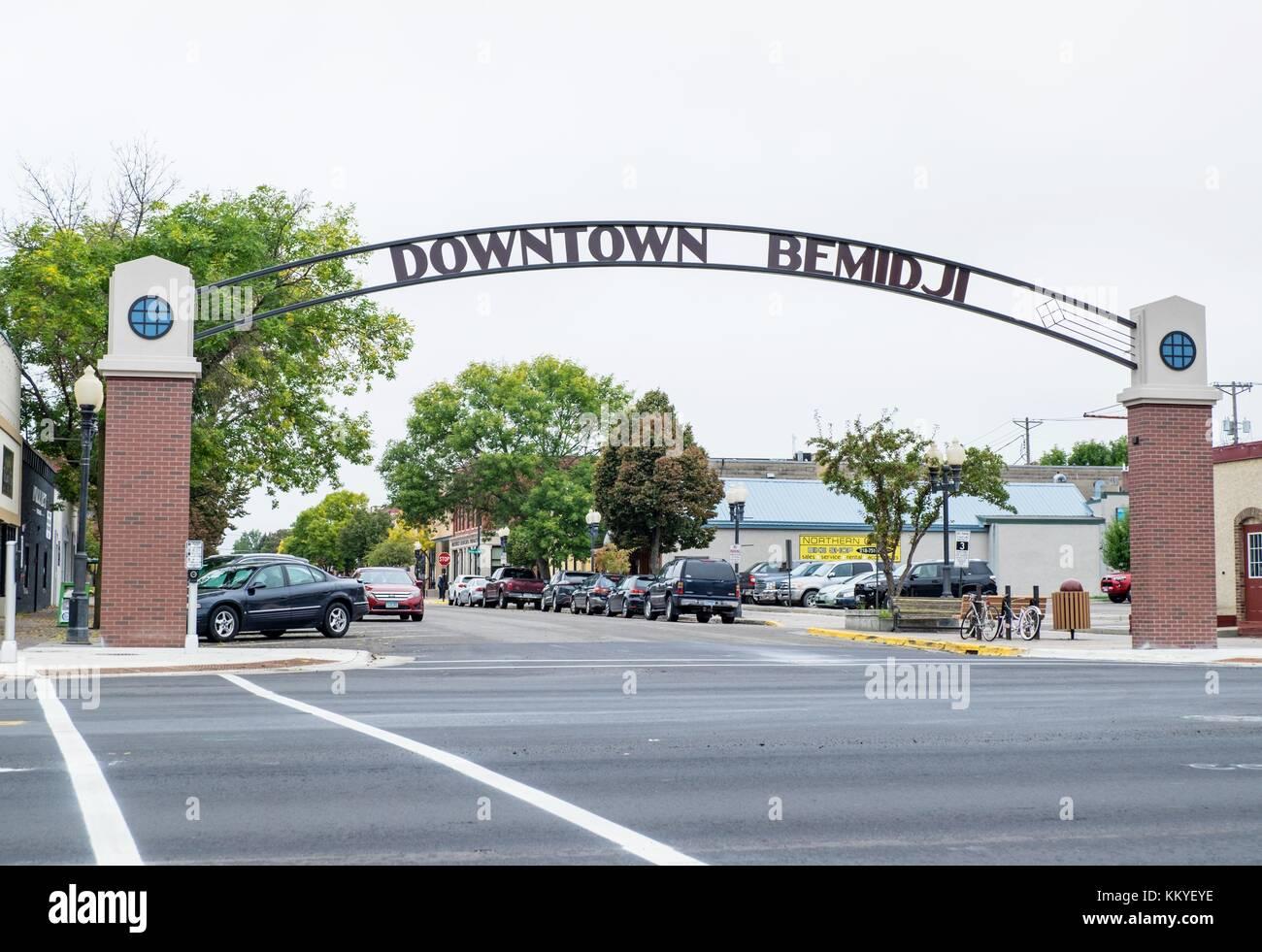 Gateway To Downtown Bemidji Minnesota Usa Stock Photo