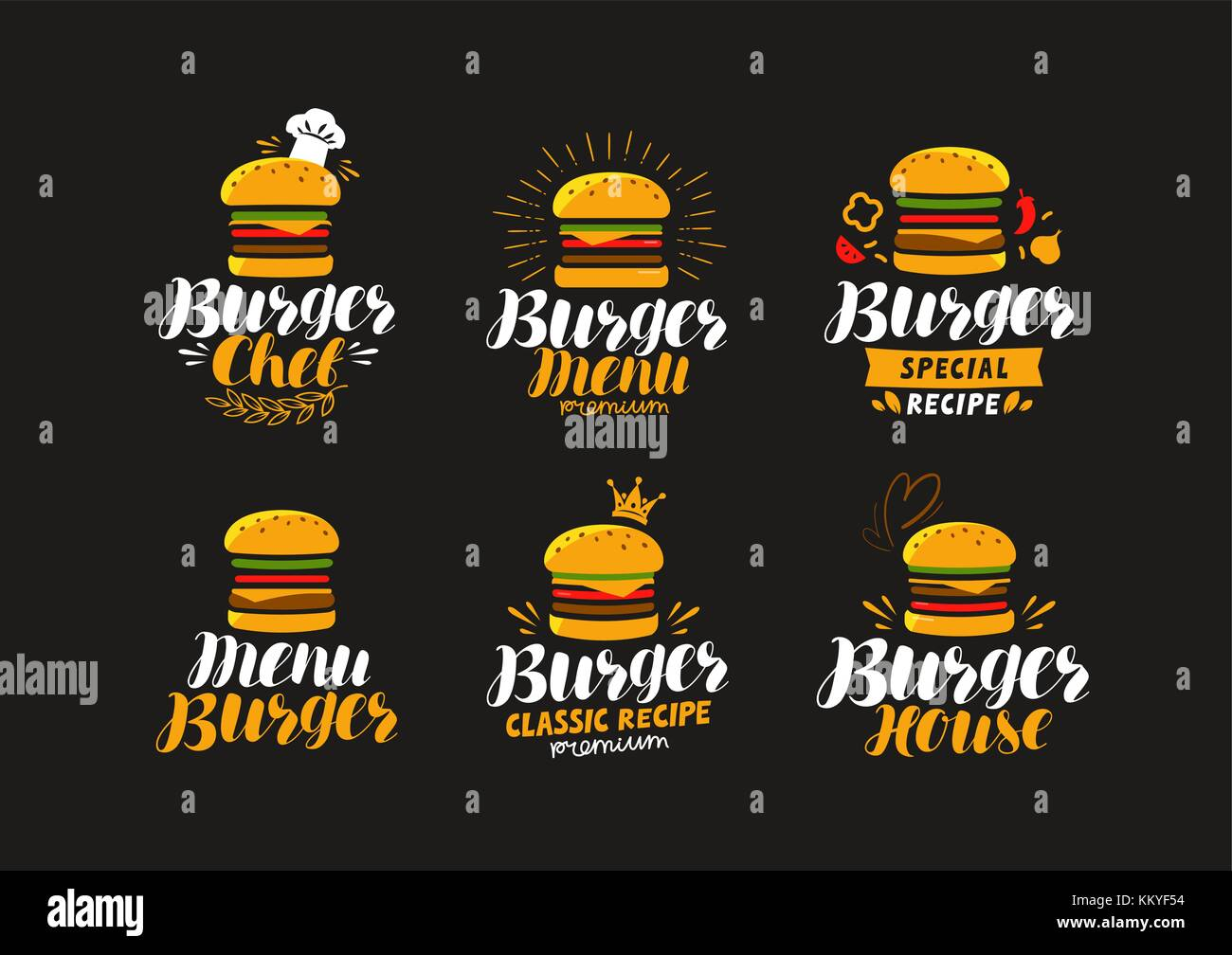 Burger logo or label. Fast food, eating concept. Vector illustration - Stock Vector