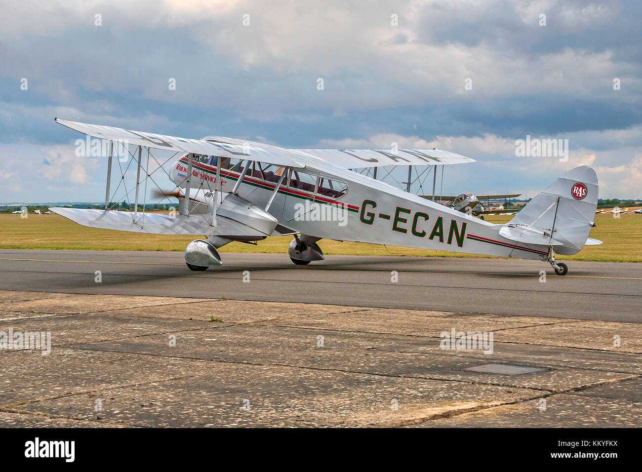 1943 De Havilland DH84 Dragon G-ECAN is operated by the Norman Aeroplane Trust and is seen taxying at Duxford in - Stock Image